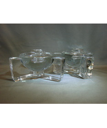 Pair of Thick Crystal Footed Taper Candle Holders - $22.00