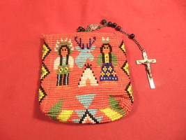 American Indian, Beaded Bag, Storage for Rosary Beads, with Metal Snap E... - $34.99