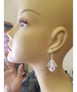 clear Bead Guardian Angel earrings dangle crystal drop plastic handmade ... - $5.99