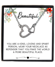 Message Card Necklace for Women Girls, Silver Plated Interlocking Heart  - £18.28 GBP