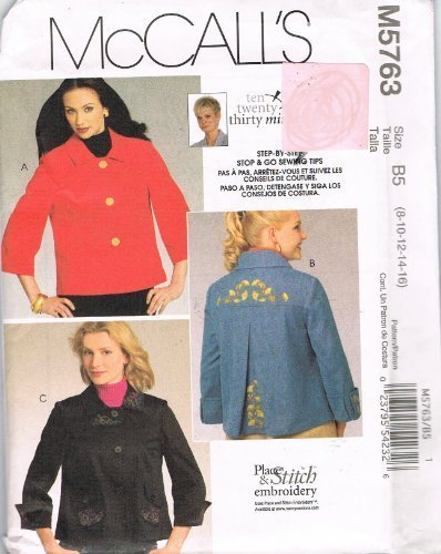McCall's Pattern M5763 Misses' and Women's Jackets, Size B5 (8-10-12-14-16)