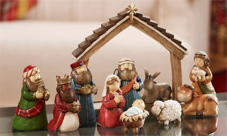 12 pc Set -  Animated Traditional Nativity Scene - Polystone