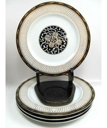 "4 ROYAL TAPESTRY by Georges Briard 7 1/2"" Salad Plates  Black Gold Pristine - $61.38"