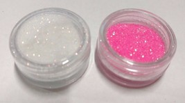 2 Nail Art Glitters WHITE & PINK Holographic Sparkle Powder Dip Gel Colo... - $6.86