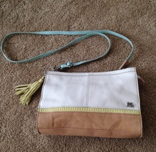 The Sak Iris Multi-Color beige lime blue white crossbody clutch leather ... - $40.00