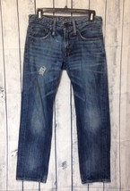 American Eagle Jeans Mens 28x28 Act 32x27 Slim Fit Destroyed Dark Blue Wash - $284,73 MXN