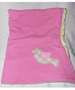 Pottery Barn Kids Baby Blanket Pink Diamond Quilted Bird Green PBK Girl ... - $22.75
