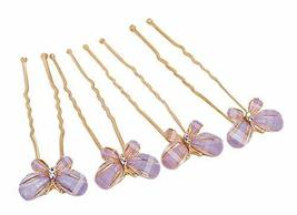 4 Pieces Elegant Hair Pins Butterfly Style Hair Accessories, Purple