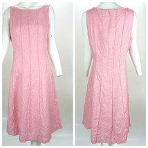 Anne Klein 100% Linen Women's Dress Sheath Scoop Neck Seamed Pink Dress 12 - $49.32