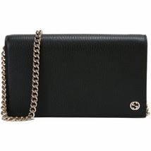 NEW Gucci Black Leather Interlocking GG Crossbody Wallet On Chain Should... - $645.93