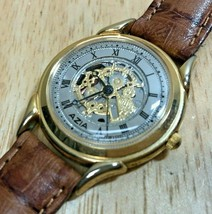 Vintage Azia Men 30m Gold Tone Skeleton Roman Analog Quartz Watch Hours~New Batt - $18.99