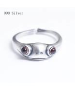 990 Pure Silver Frog Animal Garnet Open Rings for Women Lady Girl Cute F... - $26.01