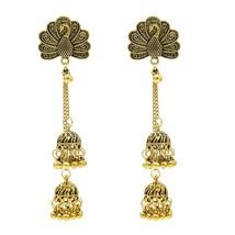 Fashion Long Bell Tassel Earring Vintage Peacock Earring For Woman Gold - $25.99