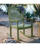 Green Wood Outdoor Rocking Chair Patio Porch Rocker Classic Craftsman Style - $326.20