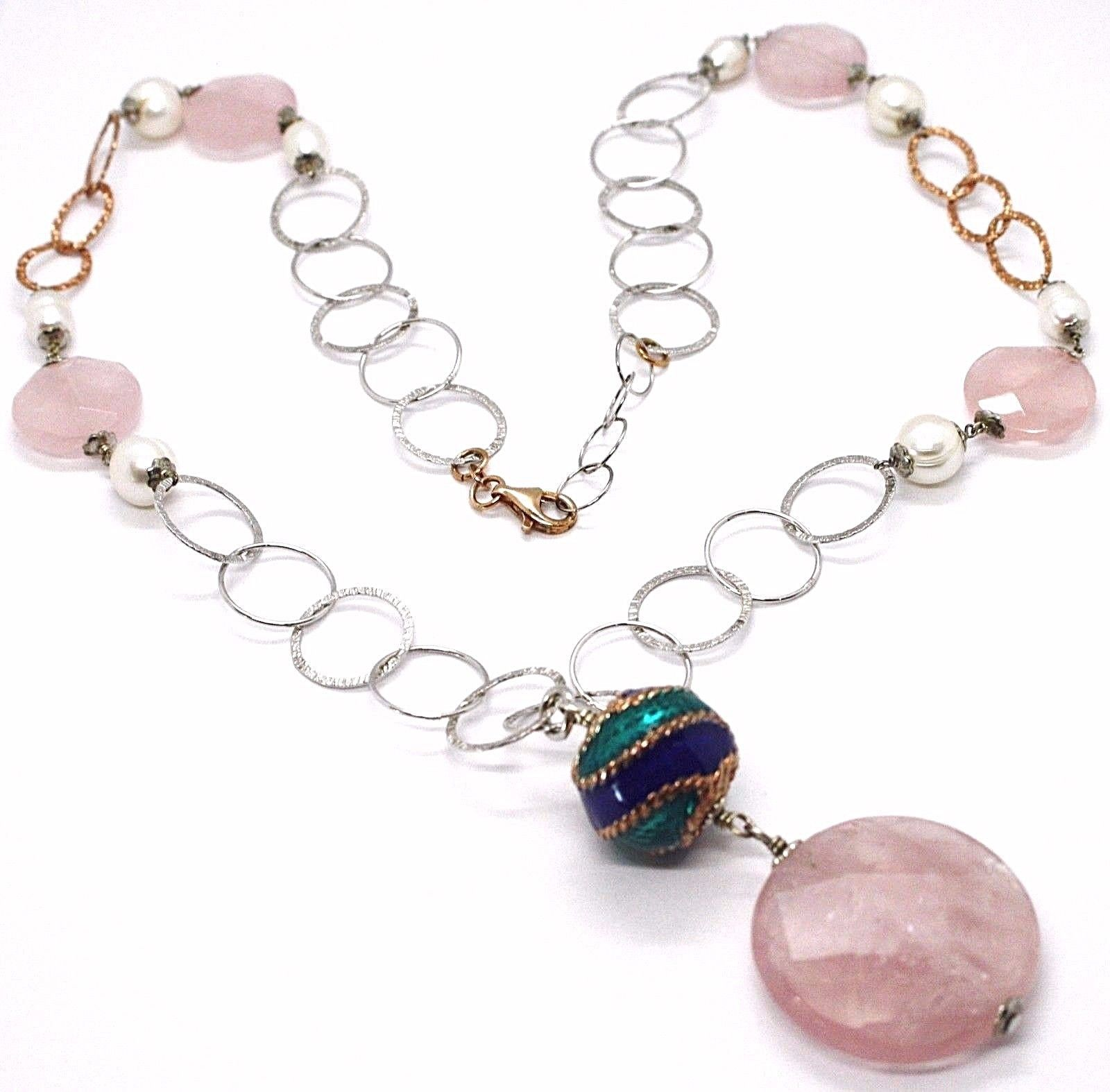 925 Silver Necklace, Rose Quartz Disk, Chain Rolo worked, Pearls, 70 cm