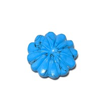 16 Cts Blue Turquoise Flower Carving Handmade Loose Gemstone for Jewelry... - $9.95