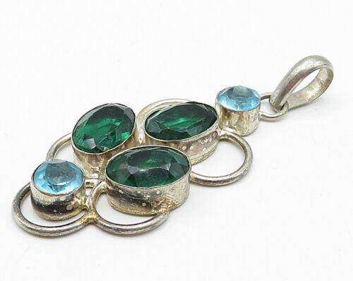 925 Sterling Silver - Vintage Faceted Emerald & Blue Topaz Drop Pendant - P4572 - £48.79 GBP