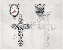 Gold Bronze or Silver - Crucifix and Mom Centerpiece Set for Rosary Maki... - $5.95