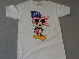 Mickey Mouse w/USA flag on a small white tee shirt  - $18.00