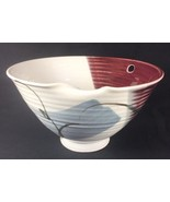 Handthrown Studio Pottery Art Japanese Watercolor Floral Soup Ramen Bowl... - $17.37