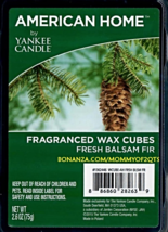 Fresh Balsam Fir American Home Yankee Candle Fragranced Wax Cubes Tarts - $3.75