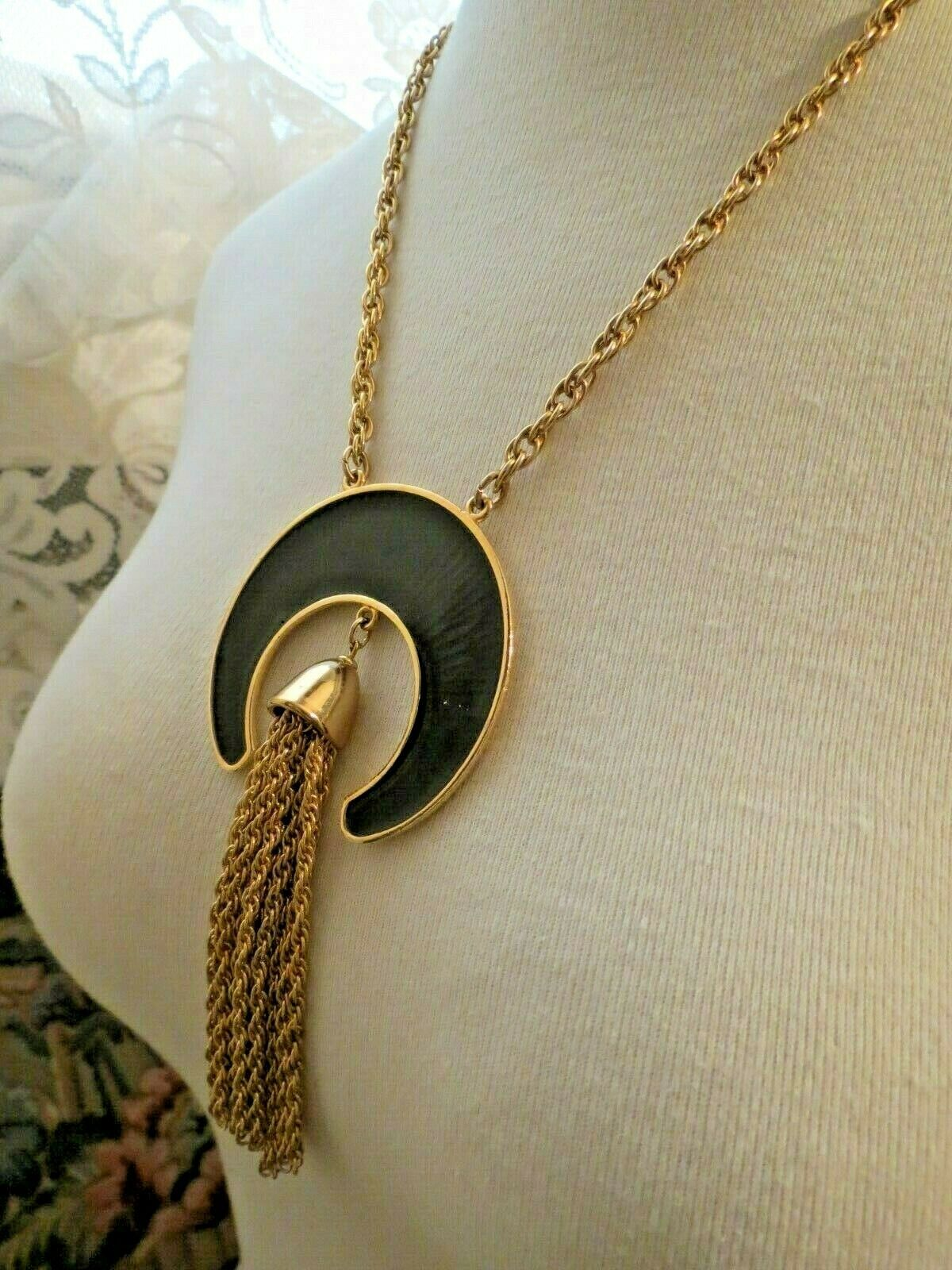 Couture Napier Enamel Pendant Necklace Chain Fringe Dangle Gold Plated Designer