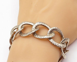 925 Sterling Silver - Vintage Textured Large Oval Link Chain Bracelet - ... - $159.60