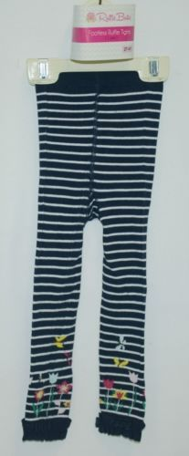 RuffleButts RLKNV2TWSFL Navy Stripe Floral Ruffle Footless Tights Size 2T to 4T