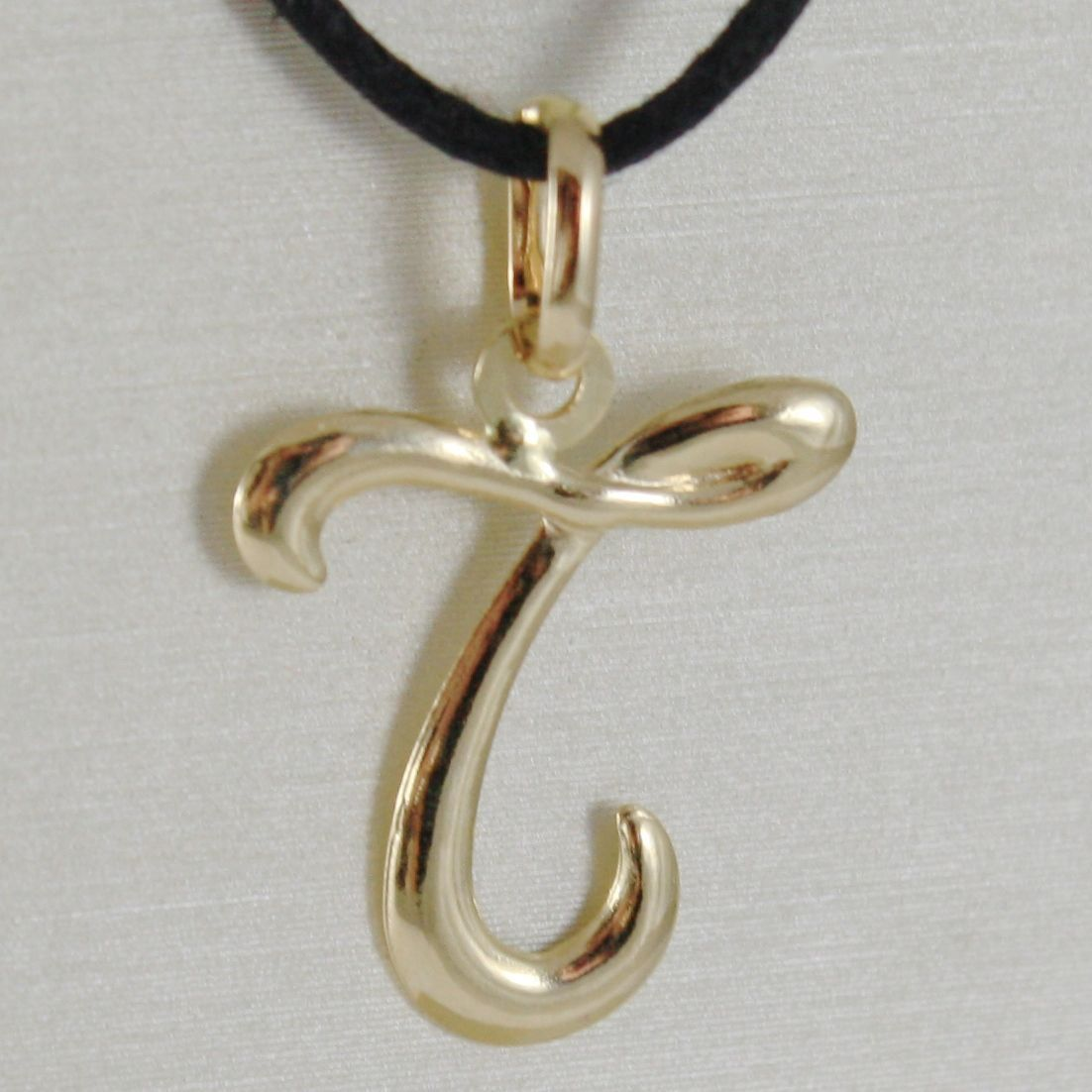 PENDANT YELLOW GOLD 18K WITH INITIAL T LETTER T LUCIDA 2,5 CM WITH CORD