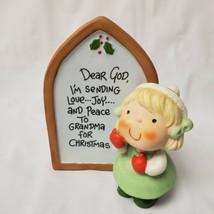 "Enesco Dear God Kids Little Girl Prayer Wish for Grandma 1983 4.5"" Tall - $18.80"