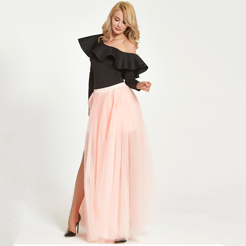 Black Pink White Slit Tulle Skirt High Waisted Full Length Slit Tulle Maxi Skirt