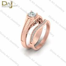 DEF White Moissanite Engagement Ring Band Set Filigree Design Bridal Wed... - £334.31 GBP