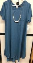 NWT LuLaRoe LLR XL Textured Solid Blue Polyester Blend Carly Swing Dress - $54.45