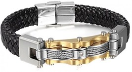 8.7 Punk Stainless Steel Genuine Leather Cable CZ Cuff Bracelet Bangle F... - $37.92