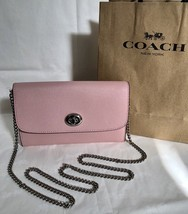 NWT Coach F21696 Turnlock Chain Crossbody Wristlet Clutch Purse Blush Pi... - £85.66 GBP