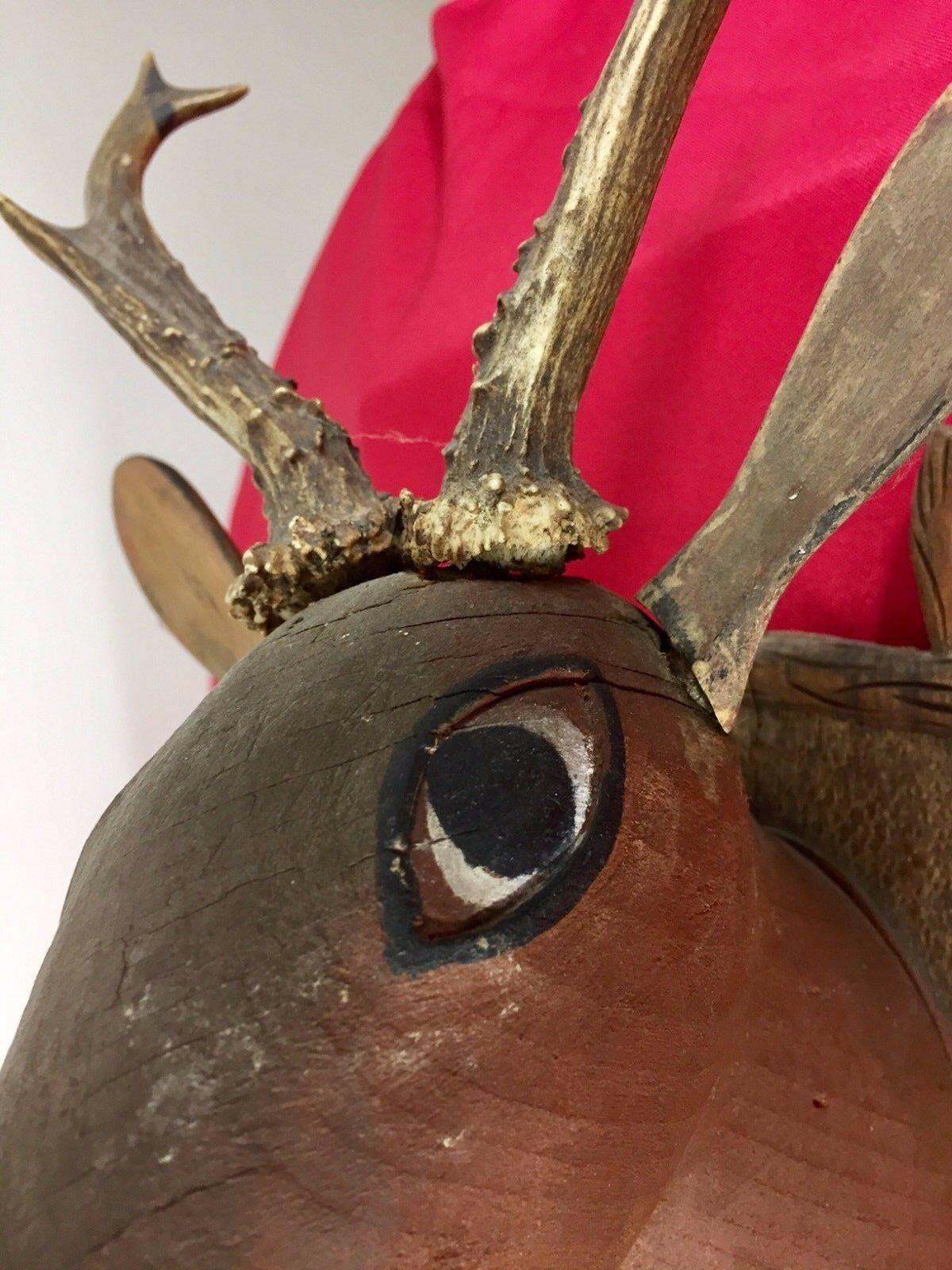 Antique 1900 Black Forest Hand Carved Wood German hunting deco design bauhaus image 7