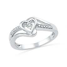 10k White Gold Round Diamond Heart Love Promise Bridal Engagement Ring .03 Ctw - £159.75 GBP