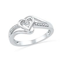 10k White Gold Round Diamond Heart Love Promise Bridal Engagement Ring .... - £150.75 GBP