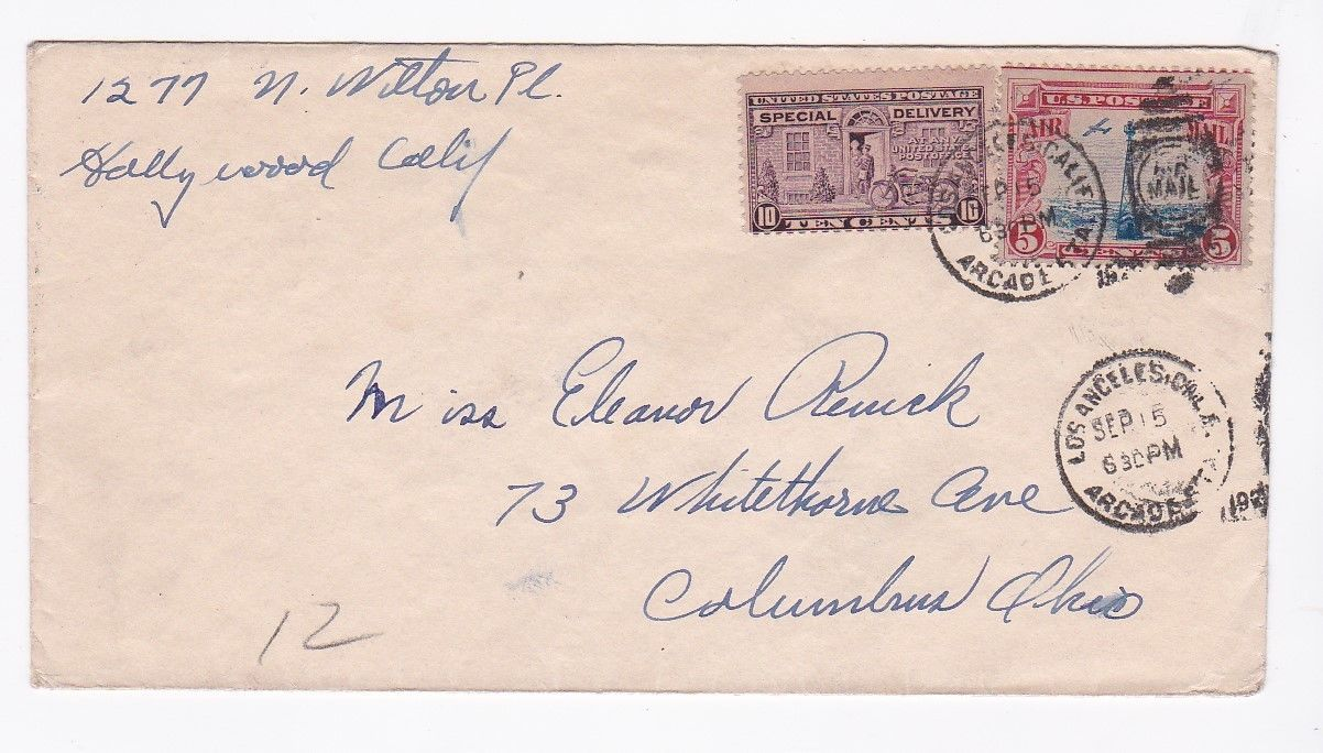 LOS ANGELES CA MAILED TO COLUMBUS OHIO SPECIAL DELIVERY SEPTEMBER 15 1929 - $4.98