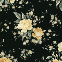 Rosette~Ivory Floral  Bouquets on Black Cotton Fabric by RJR Fabrics - $13.30