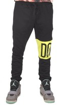 Dope Couture Color Blocked Black Neon Yellow Sweatpants Jogging Pants NWT