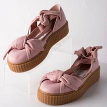 Puma Fenty by Rihanna Womens Leather Flat Platform Sandals Sz 9 Creeper Pink Bow - $59.39