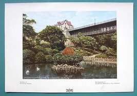 ENGLAND Scarborough Ornamental Water in Park - 1901 Offset Litho Print C... - $8.55