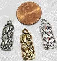 HEARTS FINE PEWTER PENDANT CHARM  - 10x24x2mm image 3