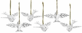 Auldhome Vintage Distressed White Bird Decorations (Set Of 6); Metal Han... - $15.69