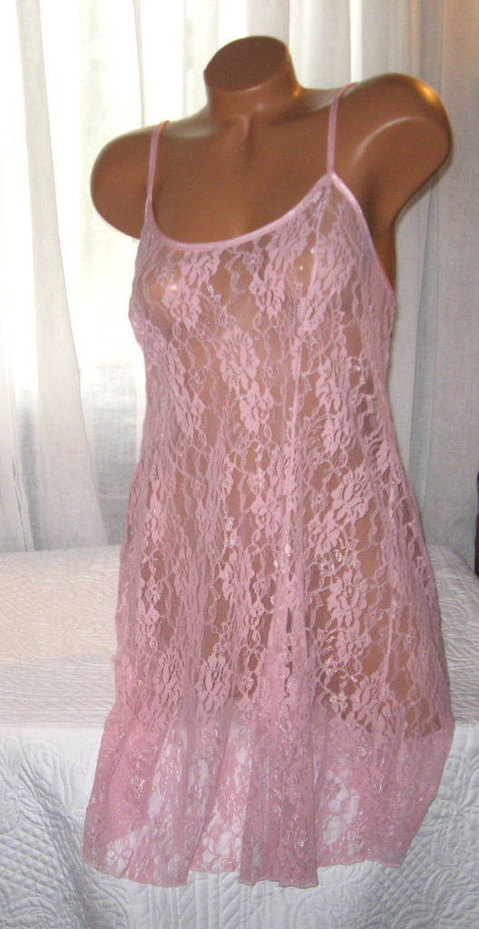 Stretch Lace Nightgown Slip Chemise 1X Plus Pink Short Gown