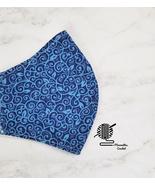 Cotton Face Mask Blue Paisley Double Layer Washable Reusable Woman Handm... - $13.50