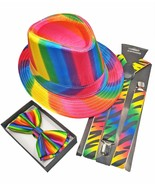 Short Brim Trilby Rainbow FEDORA HAT and BOW-TIE SET for Wedding Party C... - $17.99
