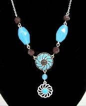 Western Chic Necklace & Pierced Earrings Gift Set Box Turquoise-Blue Avon - $18.99