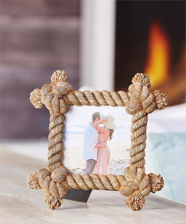"""7.3"""" Hemp Rope Nautical Design Photo Picture Frame Holds 4"""" x 4"""" Picture"""